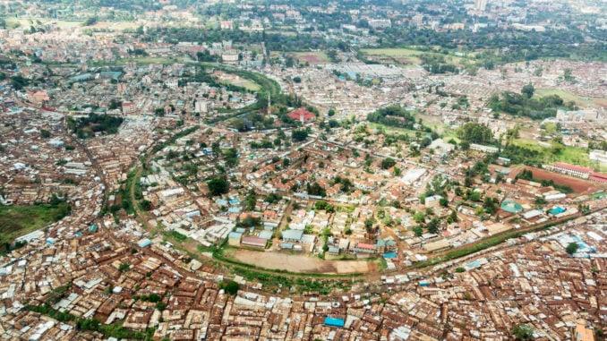 Kibera, slum area in Nairobi from above., Kenya
