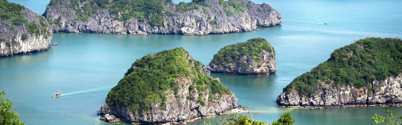 View of Halong Bay, North Vietnam.