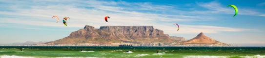 Kiteboarding near Table Mountain and Cape Town in South Africa