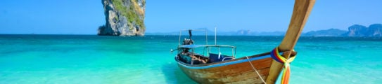 Thailand ocean landscape with traditional boat Taxi
