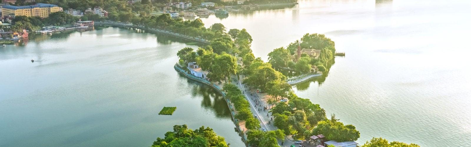 The road crossing the island Westlake, Hanoi, Vietnam