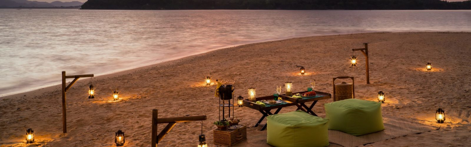 Six Senses Yao Noi beach at sunset, Thailand