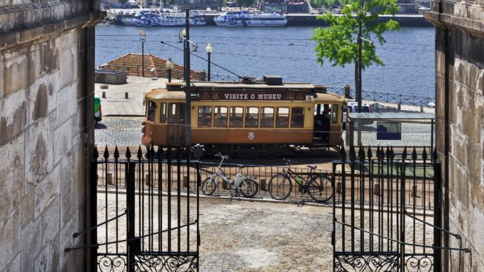 Traditional Tram Car in downtown Porto, Portugal