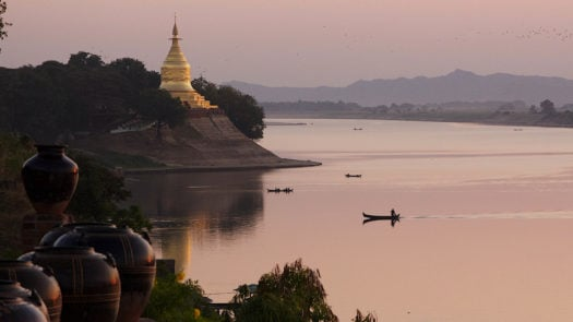 Buddhist temple, Irrawaddy River, Myanmar