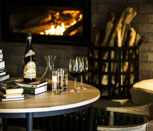 The wine room and library, Bisate Lodge, Wilderness Safari, Rwanda