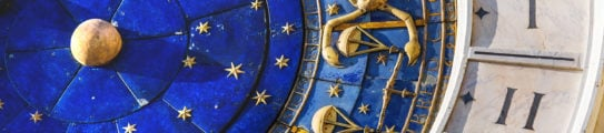 Closeup on Astronomical clock in square San Marco, Venice, Italy.
