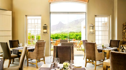 Lounge and terrace view, The Steenberg Hotel, the Winelands, Cape Town, South Africa