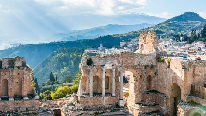 Ruins of the ancient greek theater of Taormina, Sicily, Italy.