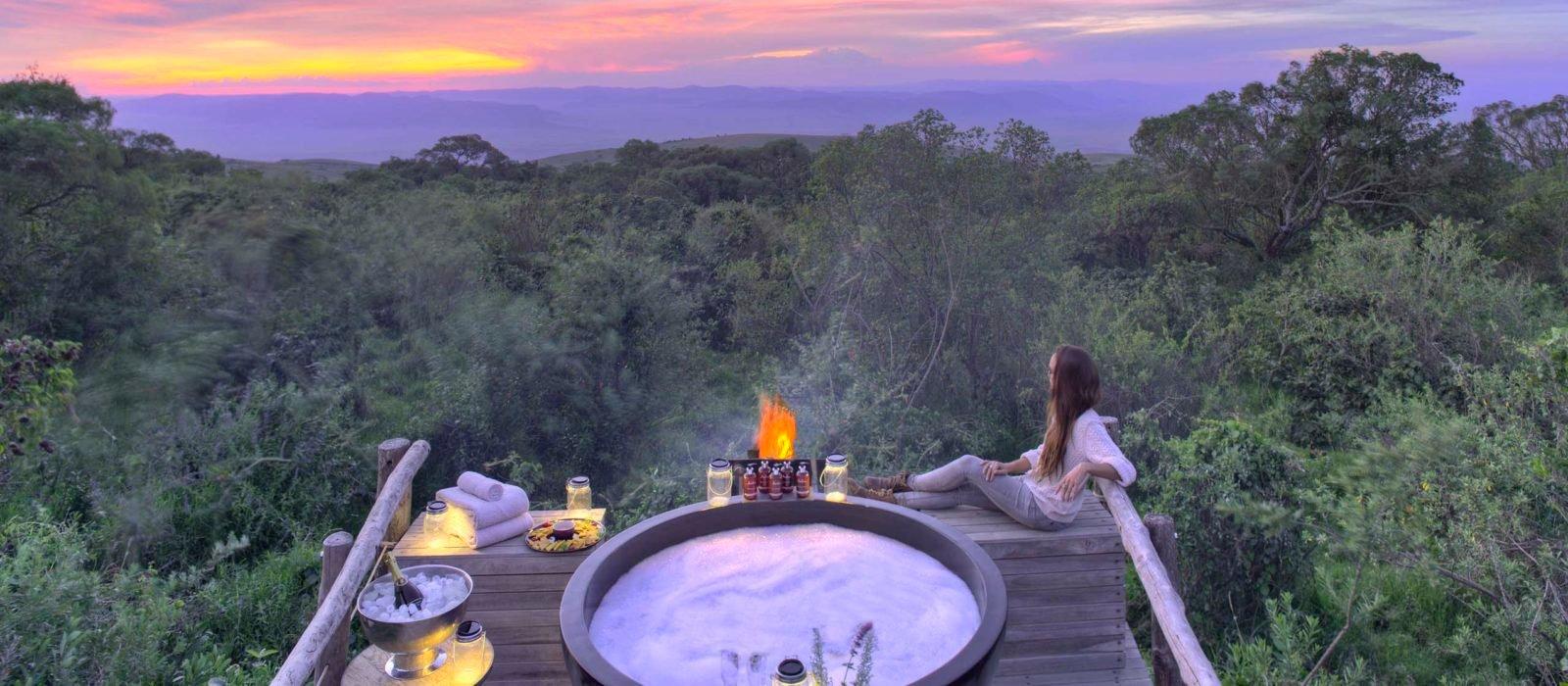 Honeymoon hot tub, The Highlands Ngorongoro, Tanzania
