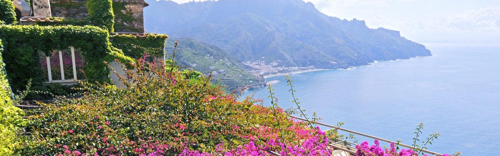 Views over the sea on the Amalfi Coast, Italy.