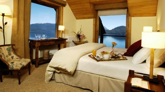 Bedroom interior, Hotel Correntoso, Lake District, Argentina