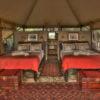 Tent interior, Meno a Kwena, Makgadikgadi Pans, Botswana