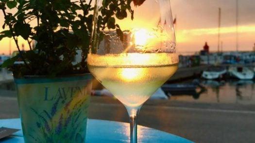 Wine glass, sunset, Casa Nostromo, Piran, Slovenia