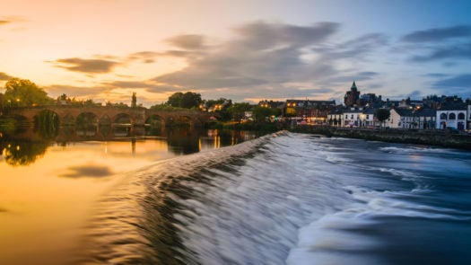 The River Nith and old bridge at Dumfries, Scotland.