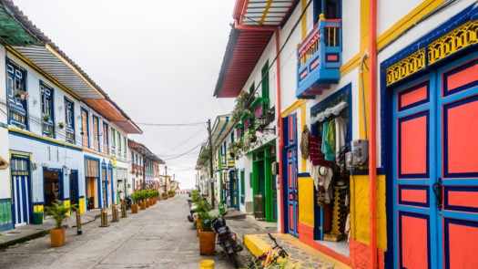 Colonial buildings in the streets of Filandia, Colombia