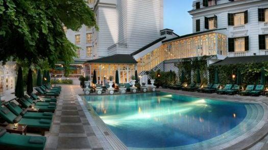 Exterior and pool at the Sofitel Metropole Hanoi, Vietnam