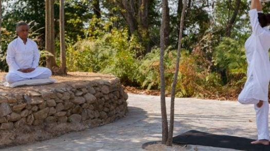 Open air yoga session, Dwarika's Resort, Dhulikhel, Nepal