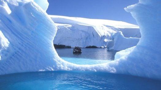 Boat through the ice, Antarctica